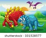dinosaurs in the park... | Shutterstock .eps vector #331528577