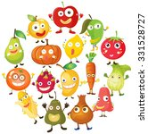 fruits and vegetables with face ... | Shutterstock .eps vector #331528727