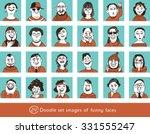 doodle set happy faces cartoon ...   Shutterstock .eps vector #331555247