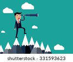 businessman stand on top of... | Shutterstock .eps vector #331593623