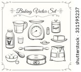 baking food ingredients and... | Shutterstock .eps vector #331595237
