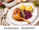 crusty christmas goose leg with ... | Shutterstock . vector #331604447