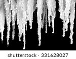 Ice Icicles Close Up On A Blac...