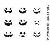 Halloween Pumpkin Faces Vector...
