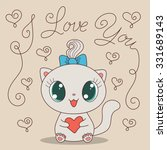 cute cartoon cat with heart and ... | Shutterstock .eps vector #331689143