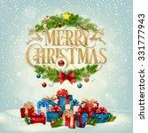 merry christmas landscape ... | Shutterstock .eps vector #331777943
