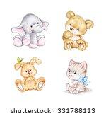 Stock photo set of animals elephant bunny bear cat 331788113