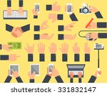 a large set of flat icons hand... | Shutterstock .eps vector #331832147