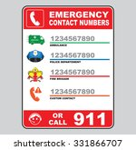 emergency call number sign ... | Shutterstock .eps vector #331866707