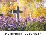 Concrete Cross In Cemetery In...