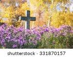 Concrete Cross In Cemetery In...