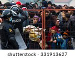 several thousand refugees are...   Shutterstock . vector #331913627