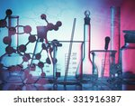 Science and medical background. Laboratory glassware.