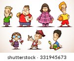 set of ittle children in... | Shutterstock .eps vector #331945673