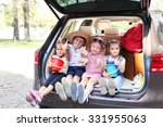 happy children sitting on a car ... | Shutterstock . vector #331955063