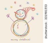 vector christmas doodle funny... | Shutterstock .eps vector #331981553