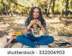 smiling caucasian teen hipster... | Shutterstock . vector #332006903