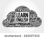 learn english word cloud ... | Shutterstock .eps vector #332037323