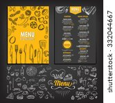 Vector restaurant brochure, menu design. Vector cafe template with hand-drawn graphic. Food flyer. | Shutterstock vector #332044667