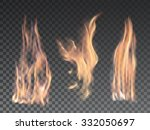 set of bright realistic fire... | Shutterstock .eps vector #332050697