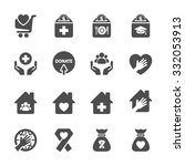 charity and donation icon set 9 ... | Shutterstock .eps vector #332053913