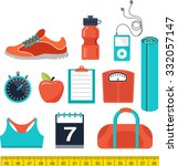 fitness and gym line  flat icons | Shutterstock .eps vector #332057147