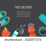 running  sport and gym icons set | Shutterstock .eps vector #332057273