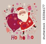 christmas card with santa | Shutterstock .eps vector #332066177
