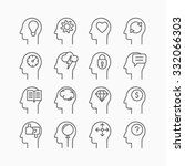 line icons set of human mind... | Shutterstock .eps vector #332066303