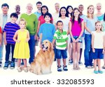 multi ethnic group of mixed age ... | Shutterstock . vector #332085593