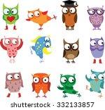 cute birds owls in vector.... | Shutterstock .eps vector #332133857