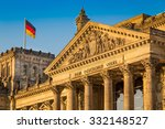 Stock photo close up view of famous reichstag building seat of the german parliament deutscher bundestag in 332148527