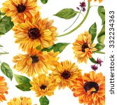 seamless watercolour sunflowers ... | Shutterstock . vector #332234363