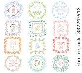 doodle frames wreaths logo set... | Shutterstock .eps vector #332242913
