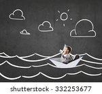 businessman escapes from the... | Shutterstock . vector #332253677