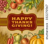 vintage happy thanksgiving card.... | Shutterstock .eps vector #332270567