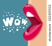 open mouth and wow message ...   Shutterstock .eps vector #332305523