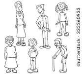 simple black and white family... | Shutterstock .eps vector #332360933