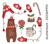 hand drawn christmas and new... | Shutterstock .eps vector #332369993