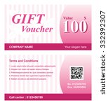 voucher template with rose... | Shutterstock .eps vector #332392307