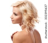 beautiful blonde girl on white... | Shutterstock . vector #332395637