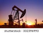 oil field scene  the evening of ... | Shutterstock . vector #332396993