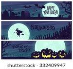 halloween landscape poster. | Shutterstock .eps vector #332409947
