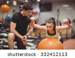 fit woman working out with... | Shutterstock . vector #332412113