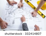 engineers discussing draft of... | Shutterstock . vector #332414807