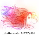 beautiful white girl with long... | Shutterstock .eps vector #332429483