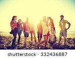 diverse beach summer friends... | Shutterstock . vector #332436887