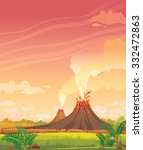 prehistoric landscape with... | Shutterstock .eps vector #332472863