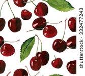 cherry seamless background  | Shutterstock . vector #332477243