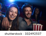 happy young couple in the movie ... | Shutterstock . vector #332492537